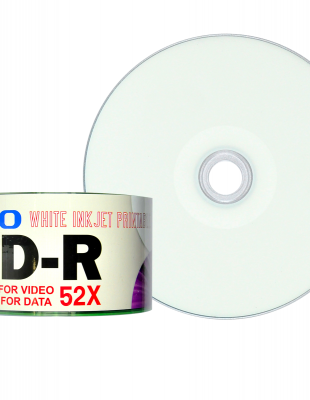 Ryo White Ink Jet Printable CD-R 80min/700MB/52X 50 Discs